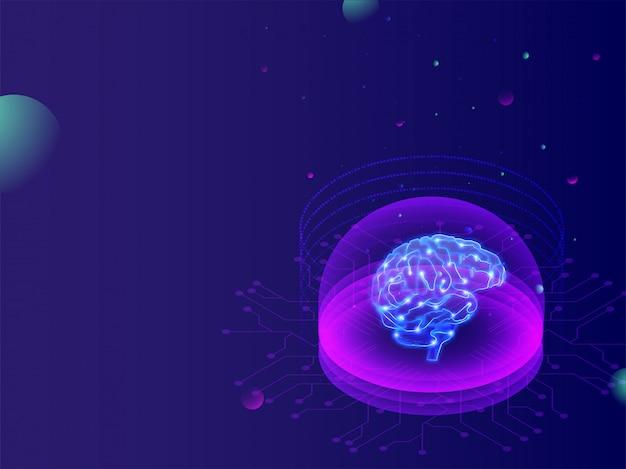 Conceito de aprendizado de máquina, cérebro digital.