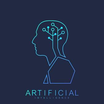 Conceito de aprendizado de máquina de logotipo humano de inteligência artificial. ícone do vetor inteligência artificial, logotipo, símbolo, sinal.