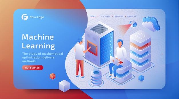 Conceito de aprendizado de máquina isométrico 3d de inteligência artificial. máquina ai cibernética.