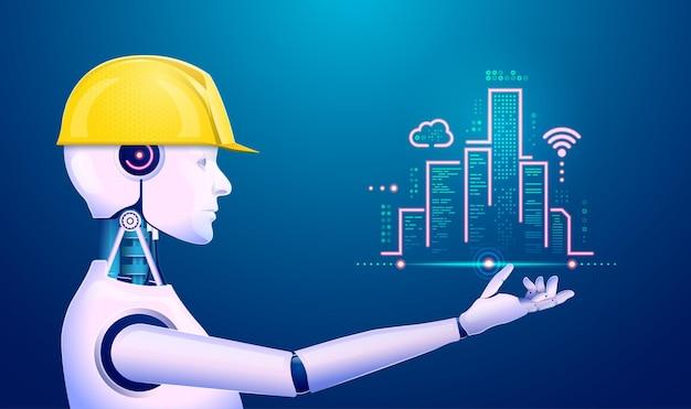Conceito de aprendizado de máquina ou tecnologia de aprendizado profundo, gráfico de inteligência artificial ou ia segurando uma cidade futurística