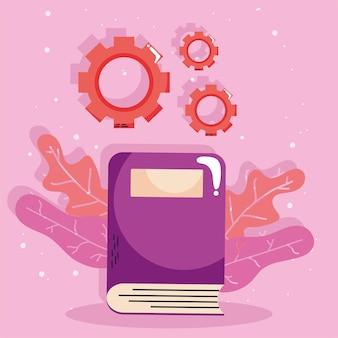 Conceito de aprendizagem de livro e engrenagens