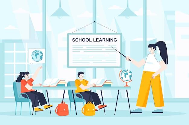 Conceito de aprendizagem escolar em design plano