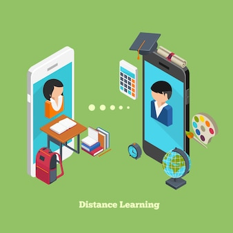 Conceito de aprendizagem online à distância. avatares de alunos em telas de smartphones