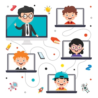 Conceito de aprendizagem online com personagem de desenho animado