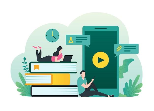 Conceito de aprendizagem online com pessoas usando ilustração de laptop e smartphone