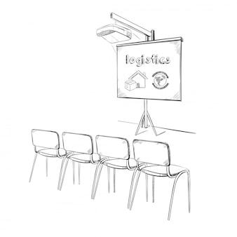Conceito de apresentação de logística de negócios desenhada à mão