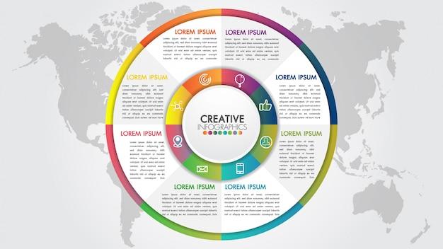 Conceito de apresentação de negócios com 9 etapas de negócios e estilo de engrenagem da indústria