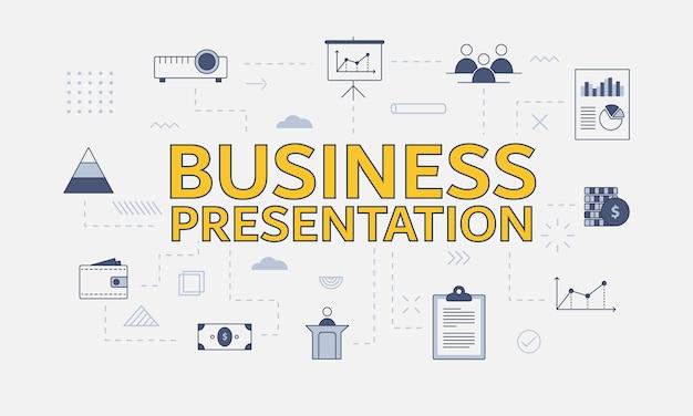 Conceito de apresentação de negócios com conjunto de ícones com grande palavra ou texto no centro
