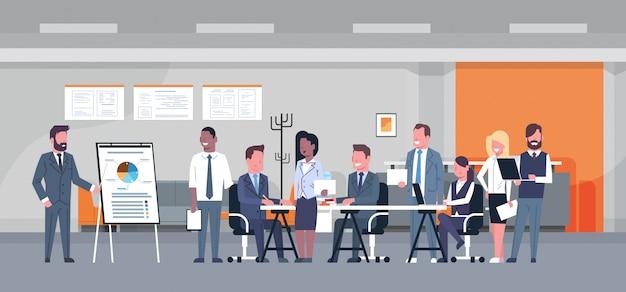 Conceito de apresentação de negócios equipe brainstorming grupo de profissionais de negócios reunião discu