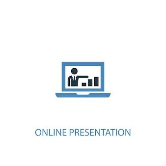 Conceito de apresentação online 2 ícone colorido. ilustração do elemento azul simples. design de símbolo de conceito de apresentação online. pode ser usado para ui / ux da web e móvel