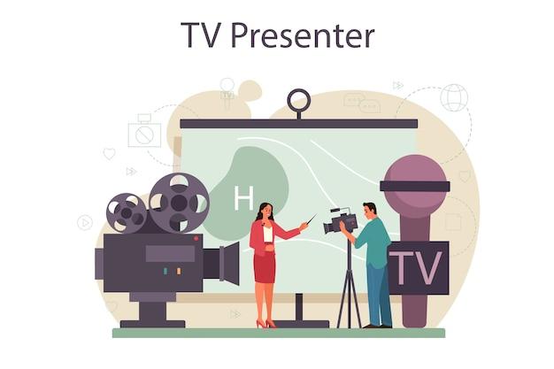 Conceito de apresentador de tv