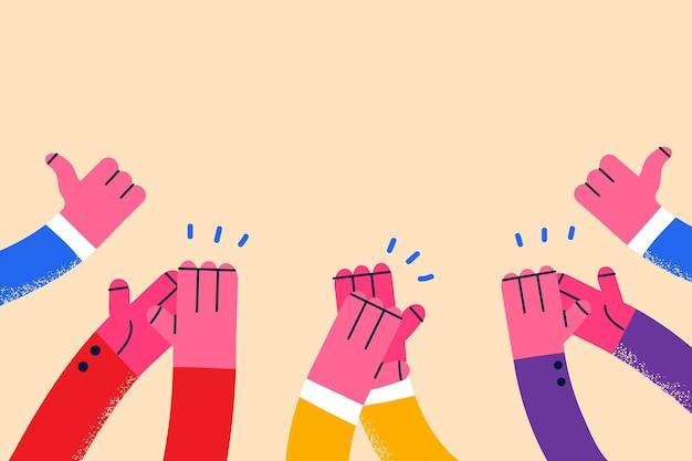 Conceito de aprovação de aplausos com o polegar para cima
