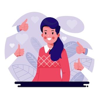 Conceito de aprovação pública com personagem feminina