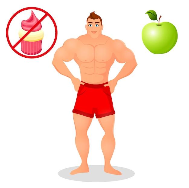 Conceito de aptidão com homem fisiculturista de esporte. modelos de musculação. atleta de físico masculino. alimentos úteis e prejudiciais. ilustração vetorial isolada no fundo branco.