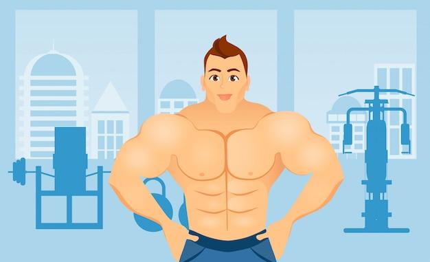 Conceito de aptidão com o homem de fisiculturista de esporte. modelos musculares. atleta de corpo masculino em um interior de ginásio de fitness