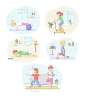 Conceito de aptidão, saúde e esporte ativo. conjunto de personagens, exercitando-se no ginásio ou em casa com halteres e equipamentos esportivos. pessoas fazem exercícios matinais. ilustração em vetor plana contorno linear.