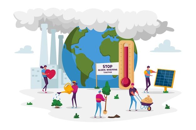 Conceito de aquecimento global: cuidado de plantas na terra com tubos de fábrica que emitem fumaça