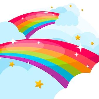 Conceito de arco-íris em design plano