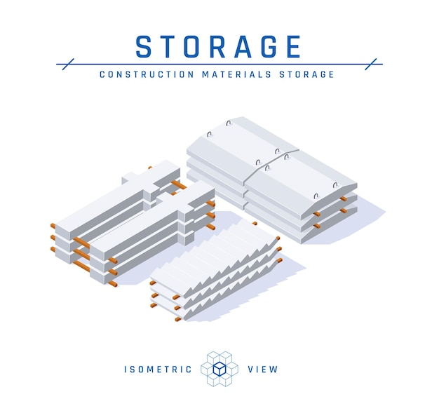 Conceito de armazenamento de concreto, vista isométrica.