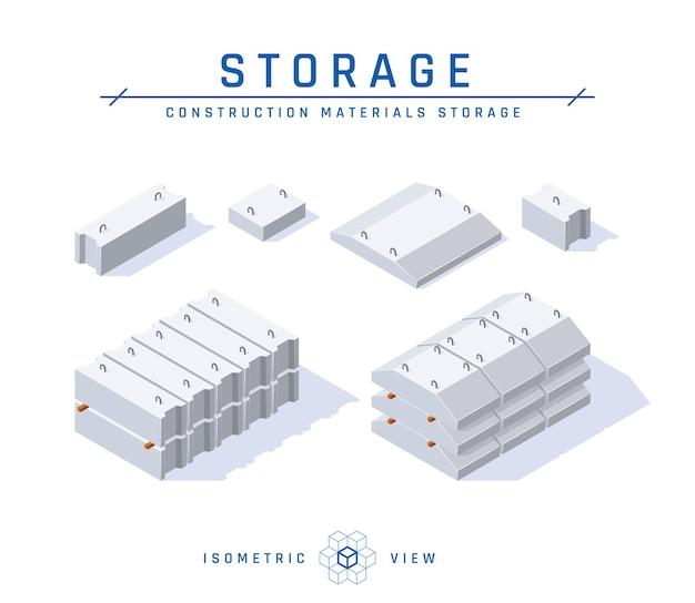 Conceito de armazenamento de fundação de concreto em vista isométrica.