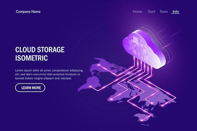 Conceito de armazenamento em nuvem. acesse dados de qualquer lugar do mundo