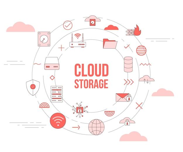 Conceito de armazenamento em nuvem com banner de modelo de conjunto de ícones e ilustração vetorial de forma redonda em círculo