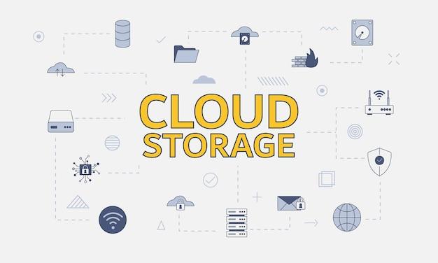 Conceito de armazenamento em nuvem com conjunto de ícones com grande palavra ou texto na ilustração vetorial central