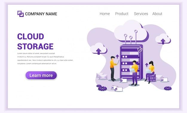 Conceito de armazenamento em nuvem com pessoas que trabalham no servidor frontal