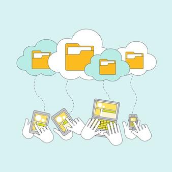 Conceito de armazenamento em nuvem em estilo de linha fina
