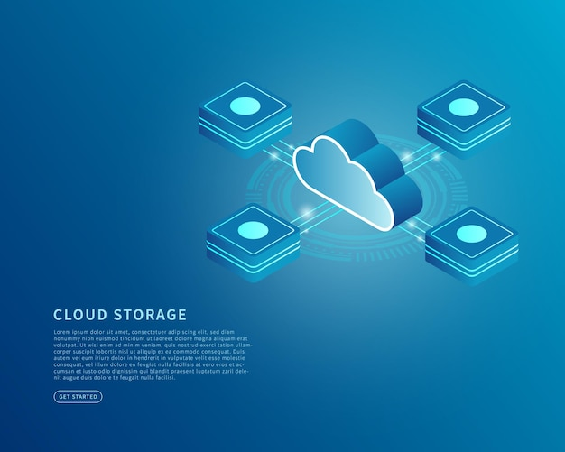 Conceito de armazenamento em nuvem em ilustração vetorial isométrica serviço digital ou aplicativo com transferência de dados banco de dados do servidor digital e serviço de computação em nuvem.
