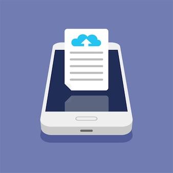 Conceito de armazenamento em nuvem. upload de arquivos para armazenamento em nuvem no smartphone. processo de download.