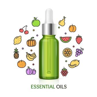 Conceito de aromaterapia com ícones coloridos de frutas.