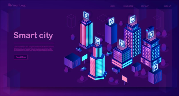 Conceito de arquitetura isométrica cidade inteligente