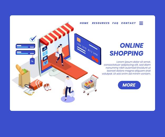 Conceito de arte isométrica de compras on-line