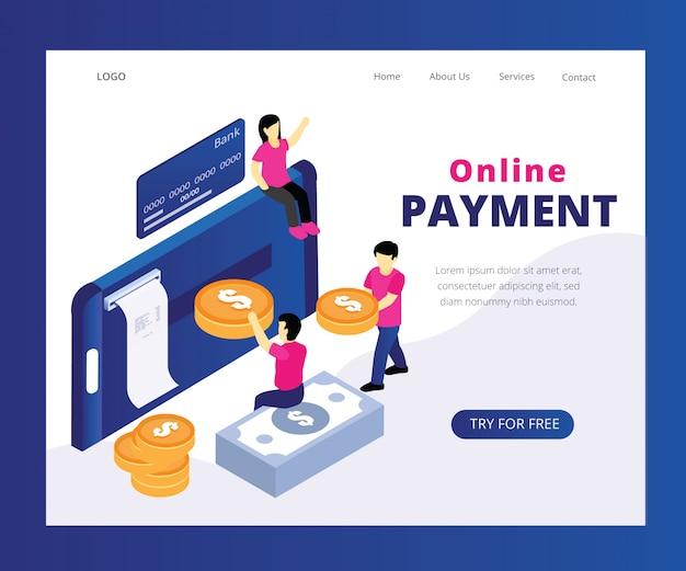 Conceito de arte isométrica de pagamento on-line.
