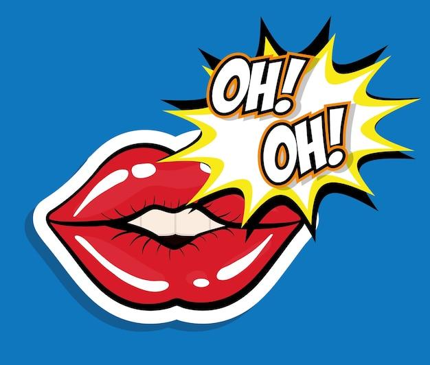 Conceito de arte pop representado pelo ícone de boca feminina
