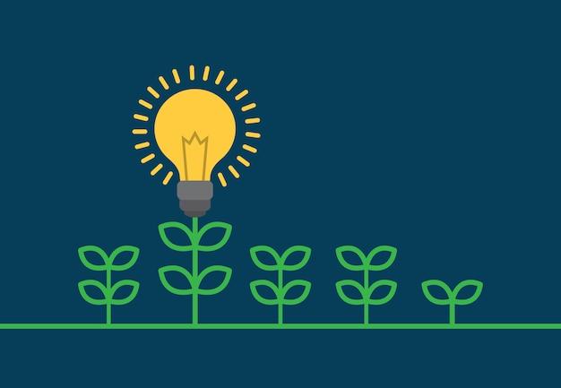 Conceito de árvore crescente idéia lâmpada de negócios.