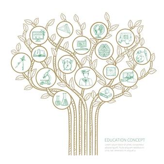 Conceito de árvore de educação com ilustração de vetor de símbolos de desenho de aprendizagem e graduação