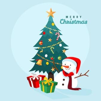 Conceito de árvore de natal com boneco de neve