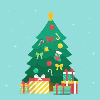 Conceito de árvore de natal com design 2d
