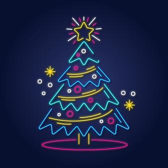 Conceito de árvore de natal com design de néon