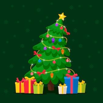 Conceito de árvore de natal com estilo 2d