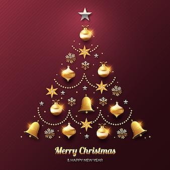 Conceito de árvore de natal feito de decoração dourada realista