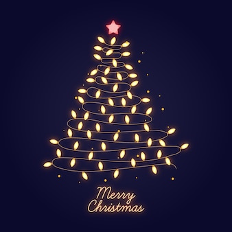 Conceito de árvore de natal feito de lâmpadas