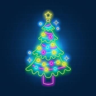 Conceito de árvore de natal neon