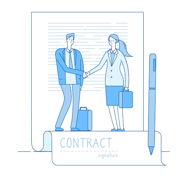 Conceito de assinatura eletrônica. contrato de advogado de empresário reunião aperto de mão. investimentos financeiros, contratos inteligentes