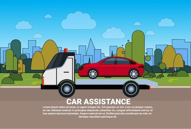Conceito de assistência de carro com reboque de serviço na estrada modelo de bandeira de evacuação de carro