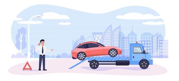 Conceito de assistência na estrada. carro quebrado no caminhão de reboque e homem dos desenhos animados chamando o serviço de emergência, ilustração em estilo simples