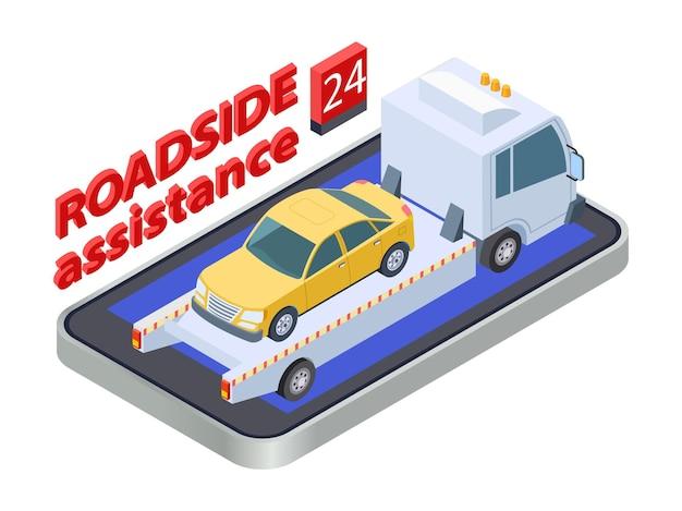 Conceito de assistência rodoviária. caminhão de reboque isométrico. assistência rodoviária online, aplicativo móvel de serviço de carro. assistência de automóvel, ilustração de estrada de serviço de veículo