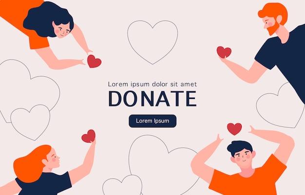 Conceito de assistência social e caridade. mãos de pessoas com corações para doação de caridade